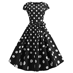 cheap Historical & Vintage Costumes-Audrey Hepburn Country Girl Polka Dots Retro Vintage 1950s Rockabilly Dress Masquerade Women's Costume Black Vintage Cosplay School Office Festival Sleeveless Medium Length A-Line
