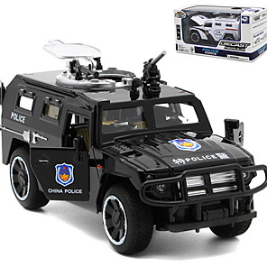 cheap Toy Trucks & Construction Vehicles-1:32 Toy Car Model Car Vehicles Police car Cool Music & Light Pull Back Vehicles Aluminium Alloy Mini Car Vehicles Toys for Party Favor or Kids Birthday Gift 1 pcs