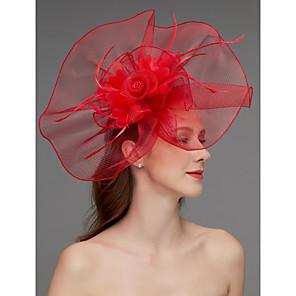 cheap Wedding Wraps-Net Fascinators / Headdress / Headpiece with Feather / Flower / Trim 1 Piece Wedding / Special Occasion / Horse Race Headpiece