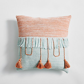 cheap Sale-1 pcs Velvet Pillow Cover & Insert, Color Block Casual Throw Pillow