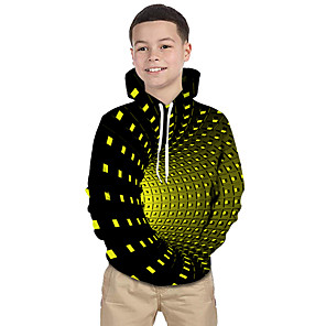 cheap Synthetic Lace Wigs-Kids Toddler Boys' Active Basic Rubik's Cube Geometric Galaxy 3D Print Long Sleeve Hoodie & Sweatshirt Black