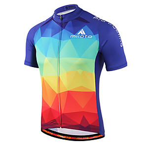 cheap Cycling Jerseys-Miloto Men's Women's Short Sleeve Cycling Jersey Purple Yellow Blue+Red Gradient Plus Size Bike Shirt Sweatshirt Jersey Breathable Quick Dry Reflective Strips Sports 100% Polyester Mountain Bike MTB