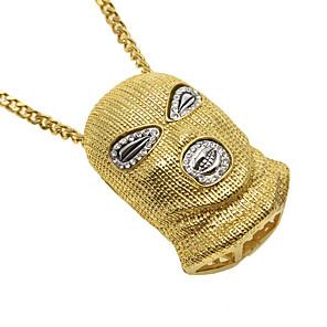 cheap Pendant Necklaces-Men's Pendant Necklace Chain Necklace Cuban Link Face Helmet Statement Punk European Trendy Copper Chrome Gold Silver 70 cm Necklace Jewelry 1pc For Club / Statement Necklace / Long Necklace
