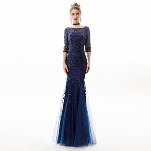 cheap Evening Dresses-Mermaid / Trumpet Sparkle Blue Engagement Formal Evening Dress Jewel Neck Half Sleeve Floor Length Lace Tulle with Sequin Appliques 2020