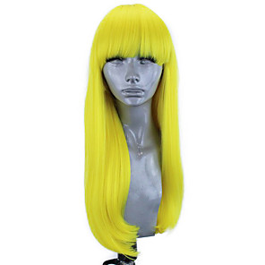 cheap Synthetic Lace Wigs-Synthetic Lace Front Wig Straight Natural Straight Free Part Neat Bang Lace Front Wig Blonde Long Yellow Synthetic Hair 18-26 inch Women's Soft Elastic Women Blonde / Glueless
