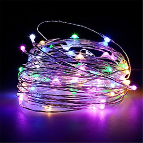 cheap LED String Lights-10M 100Leds USB powered Silver copper wire String Lights Christmas Garland Fairy Holiday Party Wedding Xmas Decoration Lights