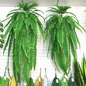 cheap Artificial Plants-1Pc Simulation Green Plant Wall Hanging Big Persian Grass Persian Iron Tree Moss Plant Fake Mosaic Decoration Accessories Green Flowers And Plant