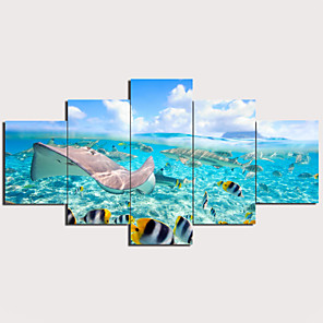 cheap Abstract Paintings-Print Stretched Canvas Prints - Landscape Animals Traditional Modern Five Panels Art Prints