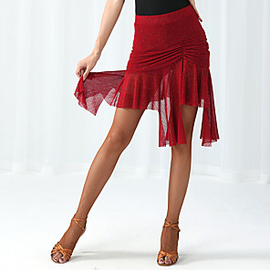 cheap Latin Dancewear-Latin Dance Skirts Ruching Women's Performance Natural Spandex