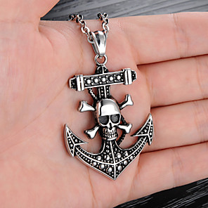 cheap Pendant Necklaces-Men's Pendant Necklace Engraved Skull Precious Anchor Punk Trendy Gothic Modern Titanium Steel Silver 55 cm Necklace Jewelry 1pc For Gift School Street Club Promise