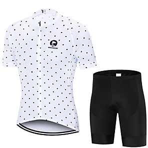 cheap Cycling Jersey & Shorts / Pants Sets-MAKOSHARK Polka Dot Men's Short Sleeve Cycling Jersey with Shorts - Black White Bike Clothing Suit Breathable Moisture Wicking Quick Dry Sports Polyster Lycra Mountain Bike MTB Road Bike Cycling