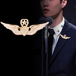 cheap Earrings-Men's Brooches Classic Wings Medal Classic Basic Rock Fashion Military Brooch Jewelry Gold Silver For Wedding Party Daily Work Festival