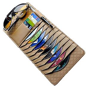 cheap Car Organizers-Car Sun Visor Organizer PU Leather Multifunctional Storage Glasses Clip Documents Folder Card CD Pouch Holder