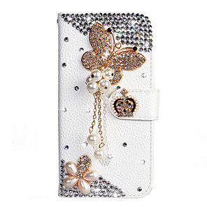 cheap iPhone Cases-Case For Xiaomi Xiaomi Redmi Note 5 / Xiaomi Redmi 7 / Redmi Note 7 Wallet / Card Holder / Rhinestone Full Body Cases Butterfly PU Leather