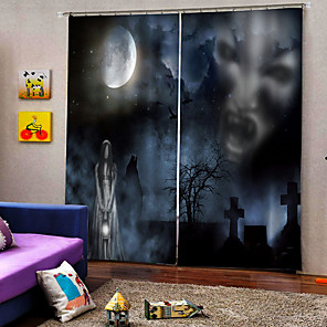cheap Christmas Decorations-Promotion Horror Ghost in Dark Night Luxury Hallowmas Theme Window Curtain 100% Polyester Blackout Curtain Fabric for Hallowmas Decor