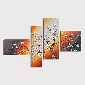 cheap Floral/Botanical Paintings-Oil Painting Hand Painted - Floral / Botanical Modern Stretched Canvas / Four Panels