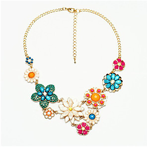 cheap Jewelry Sets-Women's Collar Necklace Flower Statement Classic Acrylic Chrome Rainbow 42 cm Necklace Jewelry 1pc For Festival