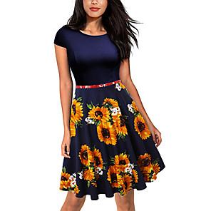 cheap Historical & Vintage Costumes-Audrey Hepburn Retro Vintage 1950s Dress Women's Spandex Costume Black & White / Yellow / Black / Blue+Yellow Vintage Cosplay Short Sleeve