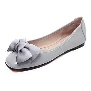 cheap Women's Flats-Women's Flats Flat Heel Square Toe Bowknot / Satin Flower / Ribbon Tie Patent Leather Sweet / Minimalism Fall / Spring & Summer Black / Almond / Red
