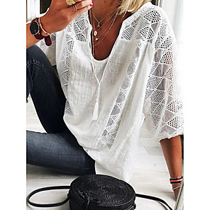 cheap Women's Sandals-Women's T-shirt Solid Colored Lace Lace Trims 3/4 Length Sleeve Tops Elegant V Neck White Green Light Blue