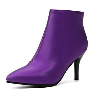 cheap Women's Boots-Women's Boots Stiletto Heel Pointed Toe PU Spring &  Fall / Fall & Winter Black / Purple / Beige