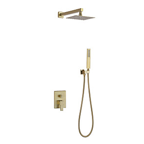 cheap Shower Faucets-Shower Faucet - Contemporary Gold Nickel Brushed Wall Mounted Ceramic Valve Bath Shower Mixer Taps
