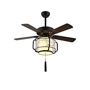 cheap Pendant Lights-QINGMING® 3-Light 132 cm Mini Style Ceiling Fan Metal Fabric Geometrical / Mini Painted Finishes Retro / Country 110-120V / 220-240V / E26 / E27