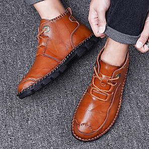 cheap Men's Sneakers-Men's Leather Shoes Nappa Leather Fall & Winter Casual Sneakers Walking Shoes Non-slipping Slogan Black / Brown