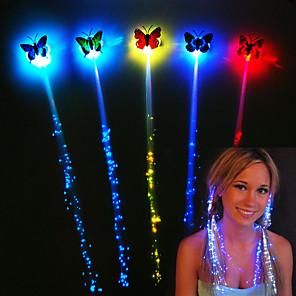 cheap Décor & Night Lights-1set 7pcs LED Bright Hair Braid Flash Fiber Hairpin Clip Luminous Butterfly Headband Luminescent New Year Party Christmas Gift Batteries Powered Halloween LED