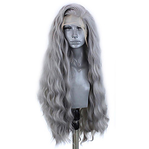 cheap Synthetic Lace Wigs-Synthetic Lace Front Wig Wavy Side Part Lace Front Wig Long Grey Synthetic Hair 18-26 inch Women's Adjustable Heat Resistant Party Gray