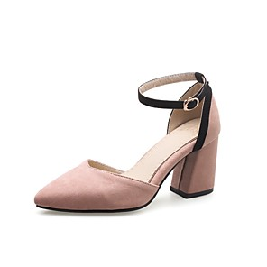 cheap Women's Heels-Women's Heels Chunky Heel Pointed Toe Buckle Faux Leather Casual / Minimalism Walking Shoes Spring &  Fall / Spring & Summer Army Green / Pink / Black / Color Block / Daily / 2-3