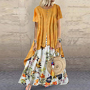 cheap Wetsuits, Diving Suits & Rash Guard Shirts-Women's Plus Size Two Piece Dress Maxi long Dress - Short Sleeve Floral Layered Button Print Summer Casual Holiday Vacation Loose 2020 Purple Yellow Pink Orange Green M L XL XXL XXXL XXXXL XXXXXL