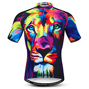 cheap Cycling Jerseys-21Grams 3D Animal Lion Men's Short Sleeve Cycling Jersey - Dark Navy Bike Jersey Top Breathable Moisture Wicking Quick Dry Sports Polyester Elastane Mountain Bike MTB Road Bike Cycling Clothing