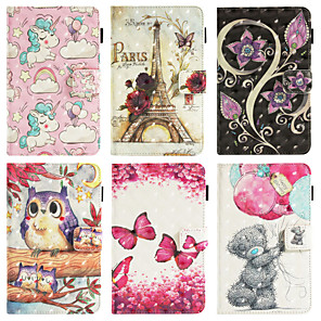 cheap iPad case-Case For Apple iPad Air / iPad Air 2 Wallet / Card Holder / with Stand Full Body Cases Butterfly / Animal / 3D Cartoon PU Leather