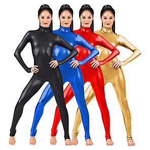 cheap Synthetic Trendy Wigs-Zentai Suits Catsuit Skin Suit Motorcycle Girl Adults' Spandex Latex Cosplay Costumes Sex Men's Women's Solid Colored Halloween / Leotard / Onesie / Leotard / Onesie / High Elasticity