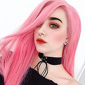 cheap Synthetic Lace Wigs-Synthetic Lace Front Wig Straight Middle Part Lace Front Wig Pink Long Pink Synthetic Hair 18-26 inch Women's Adjustable Heat Resistant Party Pink