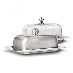 cheap Dinnerware-Stainless Steel Butter Dish Box Container Cheese Server Storage Keeper Tray with Lid Kitchen Dinnerware