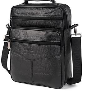 cheap Men's Bags-Men's Zipper Nappa Leather / Cowhide Crossbody Bag Solid Color Black / Brown