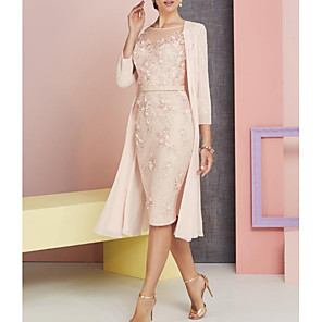 cheap Wedding Shoes-Sheath / Column Mother of the Bride Dress Elegant Vintage Plus Size Bateau Neck Knee Length Chiffon Lace 3/4 Length Sleeve with Appliques 2020 / See Through