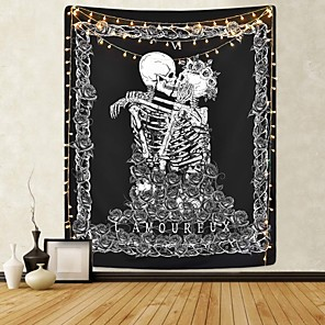 cheap Wall Tapestries-Skull Tapestry Kissing Lover Black and White Tarot Skeleton Flower Tapestry Wall Hanging Beach Blanket Romantic Bedroom Dorm Home Decor