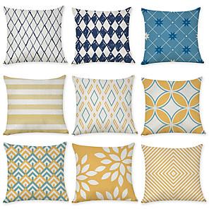 cheap Throw Pillow Covers-Set of 9 Linen Pillow Cover, Spots & Checks Geometic Leisure Modern Throw Pillow