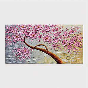cheap Abstract Paintings-Oil Painting Hand Painted - Floral / Botanical Modern Stretched Canvas