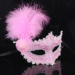 cheap Halloween & Carnival Costumes-Feather Mask Venetian Mask Masquerade Mask Inspired by Princess Black White Vintage Halloween Carnival Masquerade Adults' Women's Female / Half Mask
