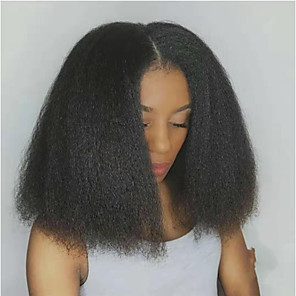 cheap Human Hair Wigs-Human Hair Lace Front Wig Middle Part style Brazilian Hair kinky Straight Black Wig 130% 150% Density Classic Women Fashion Women's Short Medium Length Human Hair Lace Wig Clytie