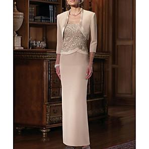 cheap Wedding Wraps-Sheath / Column Mother of the Bride Dress Elegant Plus Size Straight Neckline Floor Length Chiffon Satin Sleeveless with Sash / Ribbon Appliques 2020