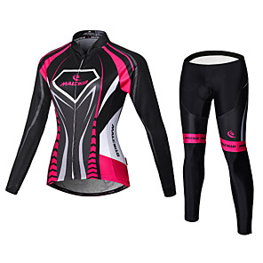 cheap Cycling Jersey & Shorts / Pants Sets-Malciklo Women's Long Sleeve Cycling Jersey with Tights - Black / Pink Plus Size Bike Jersey Bib Tights Clothing Suit Breathable 3D Pad Quick Dry Back Pocket Sports Velvet Lycra Vertical Strips