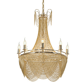 cheap Ceiling Lights-8-Light 8 Lights Luxry Chandelier/ Alunmium Stream Pendant Lights/ Gold/ Silver Electroplating for Shop Room Living Room Restaurant/ E12/E14 without Bulb