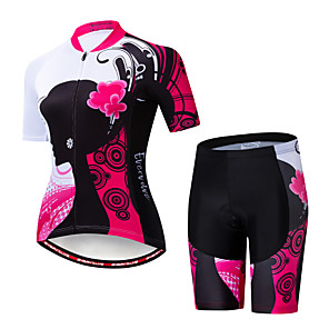 cheap Cycling Jersey & Shorts / Pants Sets-EVERVOLVE Floral Botanical Women's Short Sleeve Cycling Jersey with Shorts - Pink / Black Bike Clothing Suit Breathable Moisture Wicking Quick Dry Sports Cotton Polyster Lycra Mountain Bike MTB Road