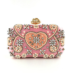 cheap Clutches & Evening Bags-Women's Pearls / Crystals Polyester Evening Bag Embroidery Blushing Pink / Fall & Winter