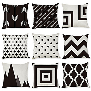 cheap Throw Pillow Covers-Set of 9 Linen Pillow Cover, Geometic Contemporary Fashion Modern Throw Pillow